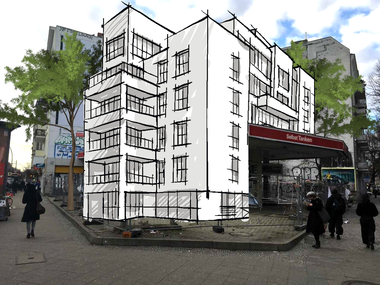 Beispielbild für die Nutzung ehemaliger Autoinfrastruktur für den Wohnungsmarkt (Grafik: Alexander Czeh/EXPERI)