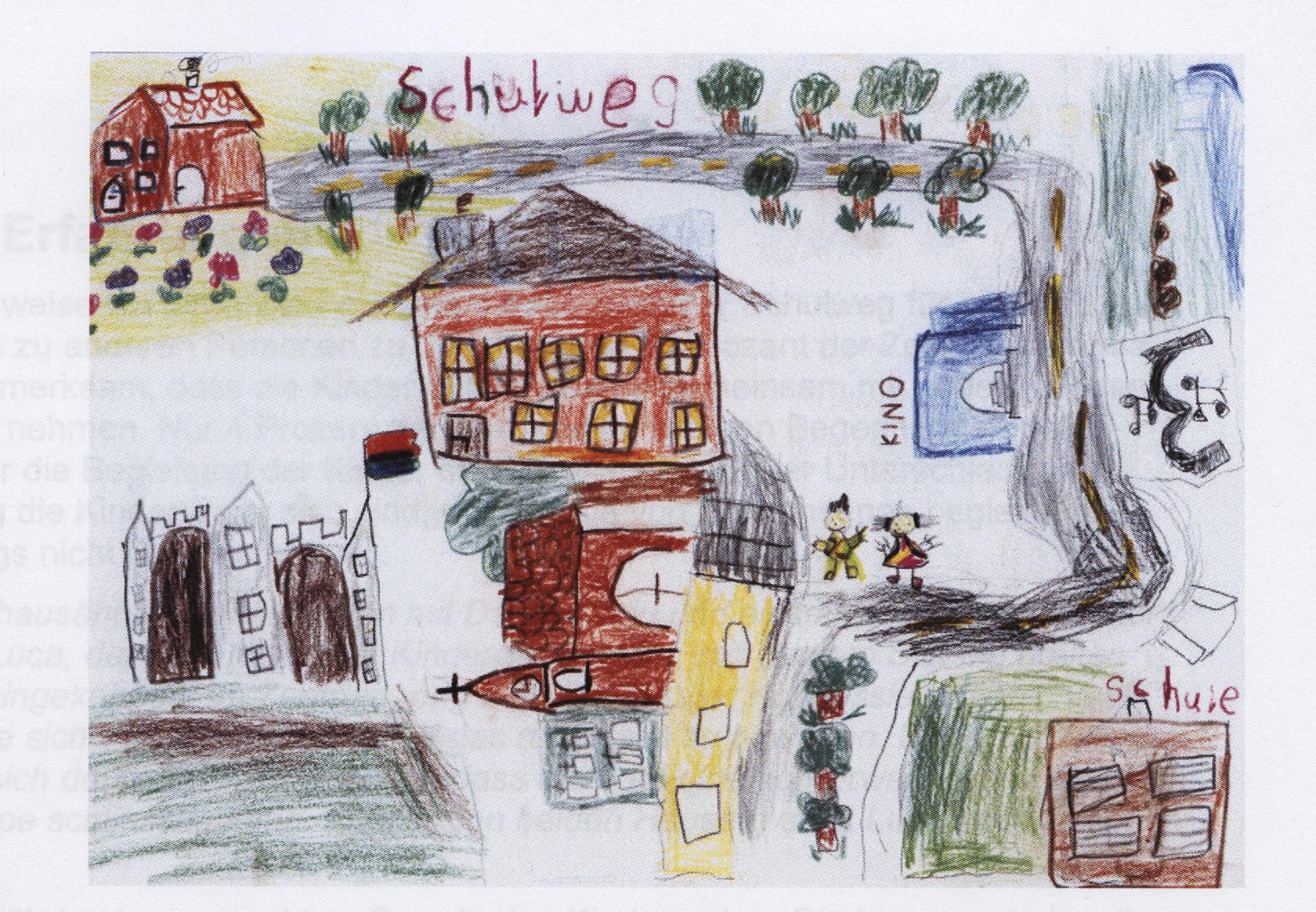 Kinder zeichnen ihren Schulweg: Ein eindrücklicher Vergleich: Das eine Kind wird mit dem Auto gefahren, das andere geht zu Fuß.   © Marco Hüttenmoser · www.kindundumwelt.ch